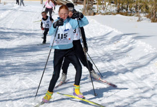 kids on the Winter Park Nordic Ski Team racing